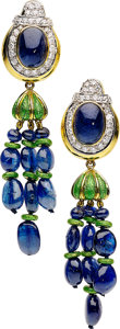 Estate Jewelry:Earrings, Diamond, Sapphire, Enamel, Platinum, Gold Earrings, David Webb . ...