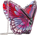 """Luxury Accessories:Bags, Judith Leiber Pink & Purple Crystal Butterfly Minaudiere. Condition: 1. 5"""" Width x 5"""" Height x 4"""" Depth. ..."""