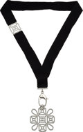 """Luxury Accessories:Accessories, Chanel Black Ribbon & Jeweled Pendant Necklace. Condition: 2. 13"""" Drop (Pendant: 2.5"""" Width x 2.5"""" Height). ..."""