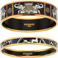 Luxury Accessories:Accessories, Hermès Set of Two: Black & Dark Blue Enamel Bangles. Condition: 2. See Extended Condition Report for Sizes.... ... (Total: 2 Items)