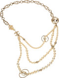 "Luxury Accessories:Accessories, Chanel Faux Pearl Beaded Earth Necklace with Gold Hardware. Condition: 2. 16"" Drop. ..."