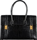"Luxury Accessories:Bags, Hermès 30cm Shiny Black Alligator Drag Bag with Gold Hardware. T, 1964. Condition: 3. 12"" Width x 8.5"" Height x 5""..."