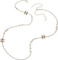 """Luxury Accessories:Accessories, Chanel Faux Pearl & Light Pink CC Necklace. Condition: 2. 52"""" Length. ..."""