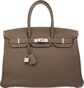 "Luxury Accessories:Bags, Hermès 35cm Etoupe Togo Leather Birkin Bag with Palladium Hardware. P Square, 2012. Condition: 2. 14"" Width x 10"" ..."
