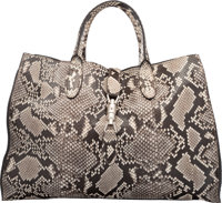 "Gucci Brown & Cream Python Medium Jackie Tote Bag Condition: 2 17"" Width x 12"" Height x 6"" Depth&..."