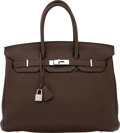 "Luxury Accessories:Bags, Hermès 35cm Chocolate Clemence Leather Birkin Bag with Palladium Hardware. M Square, 2009. Condition: 3. 14"" Width..."