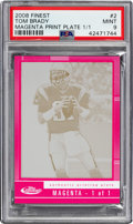 Football Cards:Singles (1970-Now), 2008 Topps Finest Tom Brady Magenta Printing Plate #2 Numbered 1 of 1 PSA Mint 9....