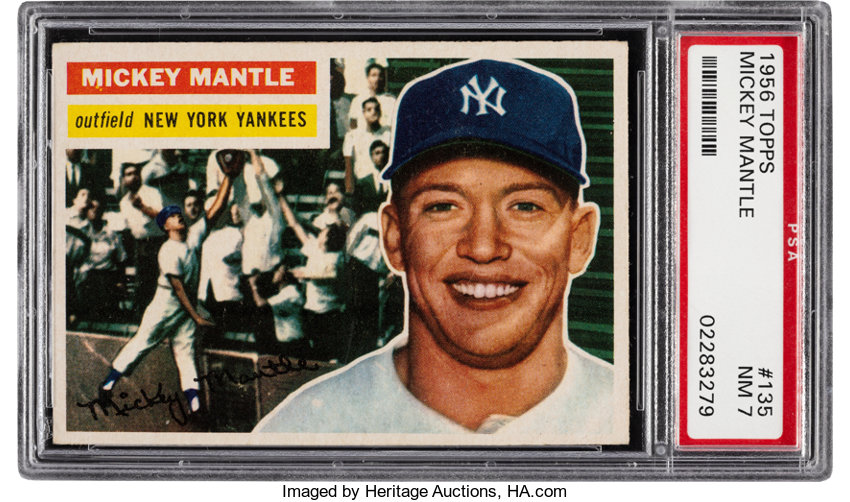 1956 Topps Mickey Mantle Gray Back 135 Psa Nm 7