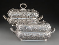 A Pair of Dominick & Haff Silver Floral Repoussé Covered Serving Dishes Dominick & Haff, New York, New Yo...