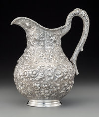 A Kennard & Jenks Repoussé Silver Water Pitcher, Boston, 1875-1880 Marks: STERLING, K&J, (sh