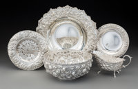 An Assembled Group of Five American Silver Repoussé Table Articles, Baltimore, Maryland, various Marks: various