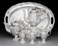 A Maciel Silver Tea and Coffee Service, Mexico City, 1940-1948 Marks to each: MACIEL, STERLING, MADE IN MEXICO