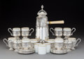 Silver & Vertu:Hollowware, A Twenty-Eight-Piece Augarten Porcelain and Silver Demitasse Coffee Service, Vienna, early 20th century. Marks to silver: ... (Total: 28 Items)