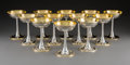 Silver & Vertu:Hollowware, A Set of Twelve Koch & Bergfeld Partial Gilt Silver Champagne Coupes from a Royal Egyptian Collection, Döbeln, Germany , lat... (Total: 12 Items)