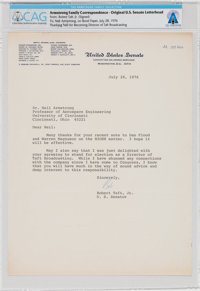 Robert Taft, Jr. 1976-Dated Typed Letter Signed to Neil Armstrong Thanking Him For Input Into the National Institute for...