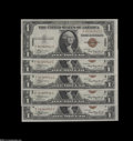 Small Size:World War II Emergency Notes, Fr. 2300 $1 1935A Hawaii Silver Certificates. Five Consecutive Examples. Gem Crisp Uncirculated.... (5 notes)