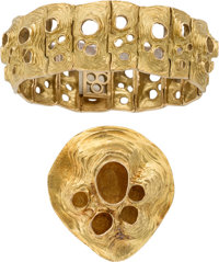 Jewelry: Janet Armstrong's 18K Gold Moon Crater Jewelry Suite by Gübelin Directly From The Armstrong Family Collec...