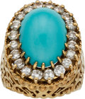 Explorers:Space Exploration, Jewelry: Janet Armstrong's 18K Gold Turquoise and Diamonds Ring Directly From The Armstrong Family Collection™, CAG Certif...