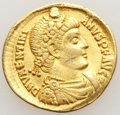 Ancients:Roman Imperial, Ancients: Valentinian I, Western Roman Empire (AD 364-375). AV solidus (22mm, 4.36 gm, 11h). VF, scratches, holed and plugged....