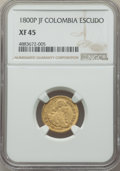 Colombia, Colombia: Charles IV gold Escudo 1800 P-JF XF45 NGC,...
