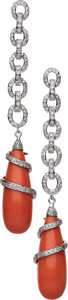 Estate Jewelry:Earrings, Diamond, Coral, White Gold Earrings. ...