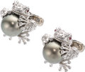Estate Jewelry:Cufflinks, South Sea Cultured Pearl, Diamond, Ruby, White Gold Cuff Links, Stefano Ricci. ...