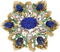 Estate Jewelry:Brooches - Pins, Diamond, Emerald, Lapis Lazuli, Gold Brooch. ...