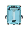 Estate Jewelry:Rings, Aquamarine, Sapphire, Diamond, White Gold Ring, Eli Frei. ...