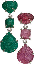 Estate Jewelry:Earrings, Emerald, Tourmaline, Diamond, Gold Earrings Th...