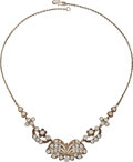 Estate Jewelry:Necklaces, Diamond, Silver-Topped Gold, Silver Necklace . ...