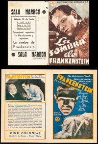 "Frankenstein & Other Lot (Universal, 1932). Overall: Very Fine. Spanish Heralds (2) (Folded: 4.5"" X 6.75&qu..."