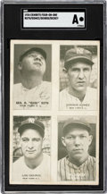 Baseball Cards:Singles (1930-1939), 1934 Exhibits Four-On-One Ruth/Gehrig/Gomes/Dickey SGC Authentic....