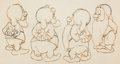 Animation Art:Production Drawing, Snow White and the Seven Dwarfs Sneezy, Happy, Bashful andSleepy Animation Drawing (Walt Disney, 1937). ...