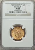 Colombia, Colombia: Republic gold 5 Pesos 1928 MS65 NGC,...