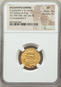 Ancients:Byzantine, Ancients: Constantine V Copronymus (AD 741-775), with Leo III. AVsolidus (19mm, 4.37 gm, 5h). NGC XF 5/5 - 4/5....