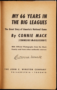Connie Mack Signed My 66 Years in the Big Leagues Book