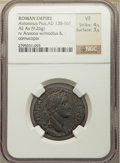Ancients:Roman Imperial, Ancients: Antoninus Pius (AD 138-161). AE as (26mm, 9.26 gm, 6h). NGC VF 4/5 - 3/5....