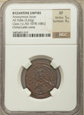 Ancients:Byzantine, Ancients: Anonymous issue during the reign of Nicephorus IIIBotaniates (ca. AD 1078-1081). Class I. AE follis (27mm, 3.62 gm,6h). NGC ...