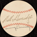 Autographs:Index Cards, c. 1950s Will Harridge & Tom Connolly Signed Baseball Cut....