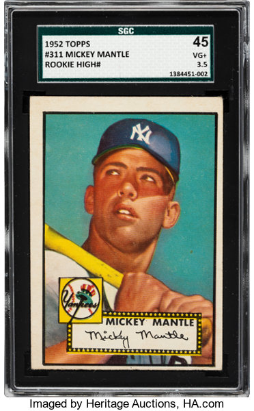 1952 Topps Mickey Mantle 311 Sgc 45 Vg 35