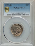 Buffalo Nickels, 1929-D 5C MS65 PCGS. PCGS Population: (224/79 and 6/8+). NGC Census: (60/20 and 0/4+). CDN: $850 Whsle. Bid for problem-fre...