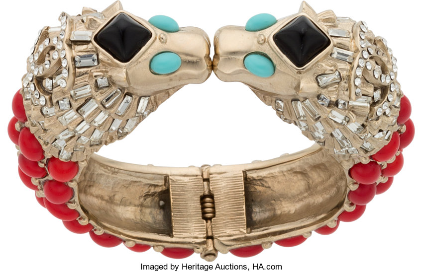 909bd9b79ee 6.5; Luxury Accessories:Accessories, Chanel Crystal Lion Head Bracelet.  Condition: 2.
