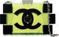 """Luxury Accessories:Bags, Chanel Translucent Yellow Lucite Lego Clutch with Silver Hardware.Condition: 2. 8"""" Width x 5"""" Height x 2""""Depth. ..."""