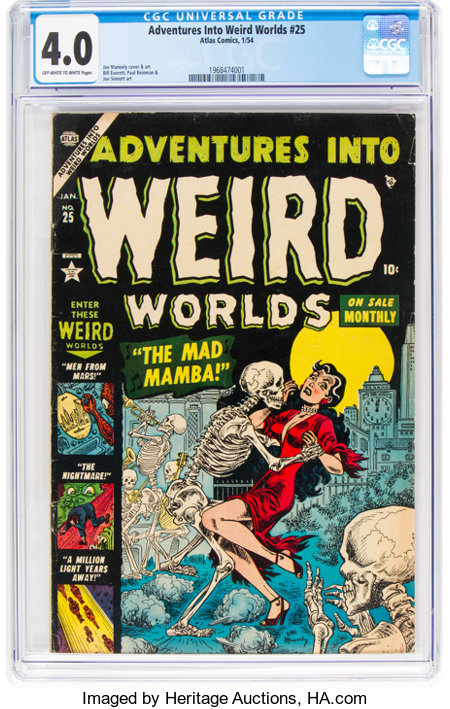 Adventures Into Weird Worlds #25 (Atlas, 1954) CGC VG 4.0 Off-white to white pages....
