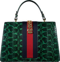 2e938299101 Gucci Limited Edition Green Python Sylvie Top Handle Bag with