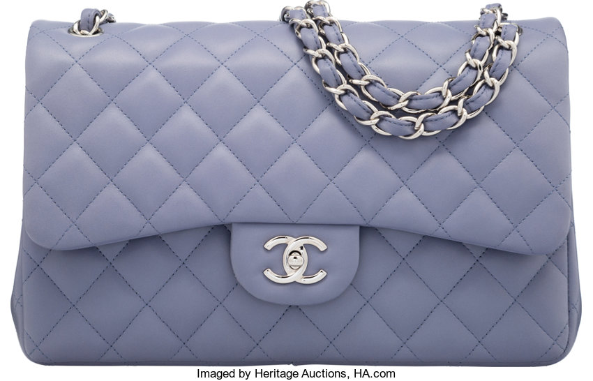 4549d9415c98 Chanel Periwinkle Quilted Lambskin Leather Jumbo Double Flap Bag ...
