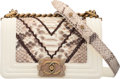 Luxury Accessories:Bags, Chanel Python & Cream Lambskin Leather Small Boy Bag with ...
