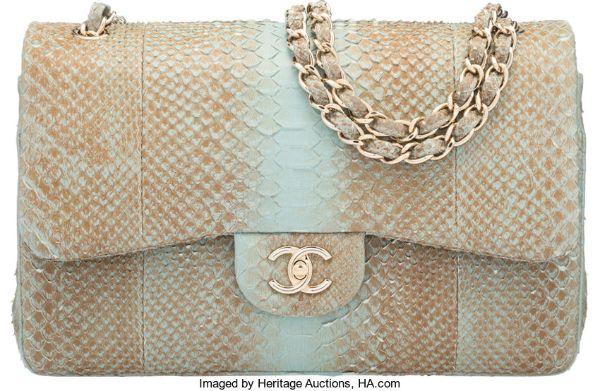 3dc8dfc173c7 ... Luxury Accessories:Bags, Chanel Light Blue & Brown Python Jumbo Double  Flap Bag wit ...