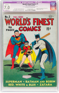 World's Finest Comics #3 (DC, 1941) CGC Apparent FN/VF 7.0 Slight (P) Off-white to white pages