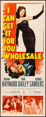 """I Can Get It for You Wholesale (20th Century Fox, 1951). Folded, Fine/Very Fine. Insert (14"""" X 36""""). Drama..."""